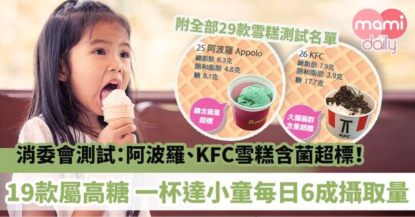 【消委會雪糕檢測】阿波羅、KFC雪糕含菌超標!19款雪糕屬高糖一杯已達小童每日6成攝取量(附詳細名單)
