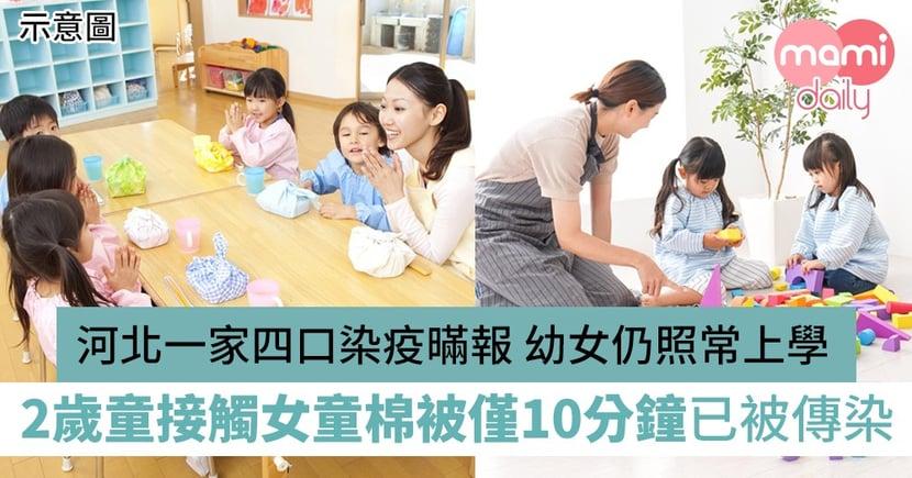 【新冠肺炎】河北一家四口染疫暪報幼女仍照常上學 2歲童接觸女童棉被僅10分鐘已被傳染