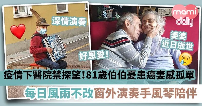 【憑歌寄意】疫情下未能到醫院探望!怕患癌愛妻感孤單 81歲伯伯每日風雨不改於窗外演奏手風琴陪伴