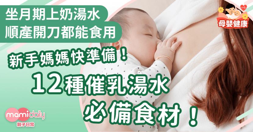 【上奶湯水】12種坐月期催乳湯水必備食材!開刀順產都能飲用!